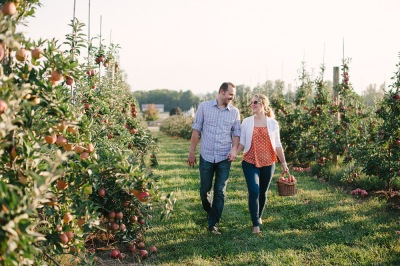 Apple picking at Eckert's Belleville Farm double date idea.