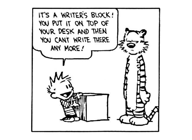 Calvin and Hobbes Writer's Block