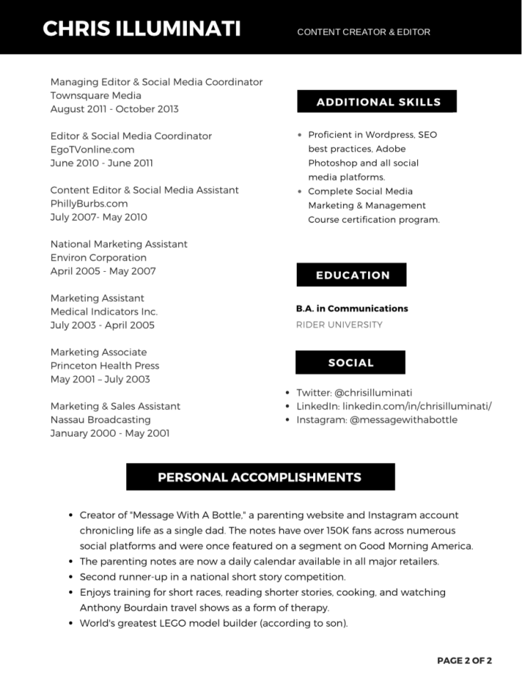 Chris Illuminati Resume Page 2